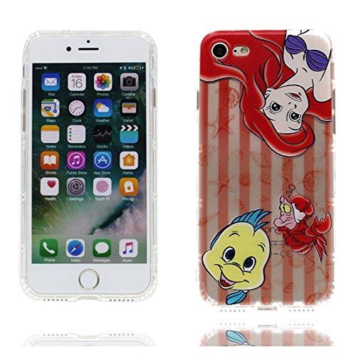 iPhone 6s Custodia, [ Cartoon sirena pesce ] TPU Silicone Trasparente Nuovo Gel Soft Case iPhone 6/6S Custodia (4.7 pollici) durevole Cartoon Cover Prova di scossa anti-graffio # # 4