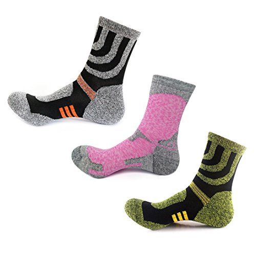 KOOOGEAR 3 Pairs Men Women Hiking Walking Socks 4-8 UK Size,No Blister Terry Cushion,Breathable,Warm,Moisture Wicking,Arch Support,for Outdoor Sports Running Walking Trekking Cycling Camping Golf Gym