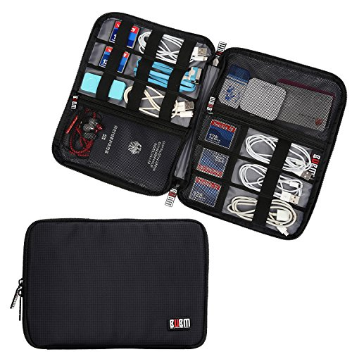BUBM Travel Gear Organiser / Electronics Accessories Bag / Phone Charger Case (Large, Black)