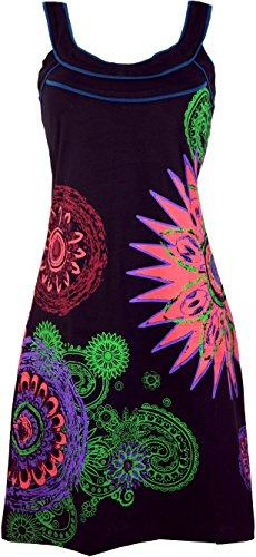 Guru-Shop Hippie Minikleid Boho Chic, Alternative Tunika, Damen, Schwarz/Bunt, Baumwolle, Size:L (40), Kurze Kleider Alternative Bekleidung