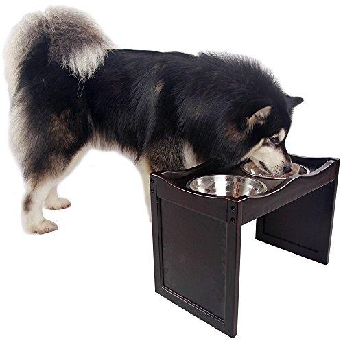Petsfit Kleiner Erhöhter Haustier Futterautomat, Hunde Futterautomat für kleine Kunde, Katzen Futterautomat, inkl. 2 Edelstahl Schalen, 53cm x 30cm x 38cm, Dunkler Kaffee -