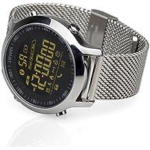 kxcd Bluetooth Smart reloj EX18Bluetooth 4.0Smart reloj 5ATM resistente al agua compatible con sistema IOS Android SmartWatch podómetro, monitor de sueño llamada SMS recordatorio reloj de pulsera.
