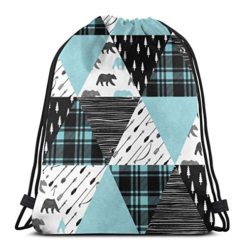 best pillow Woodland Triangle Quilt Top Bear Black U0026 Light Teal_9776 3D Print Drawstring Backpack Rucksack Shoulder Bags Gym Bag for Adult 16.9
