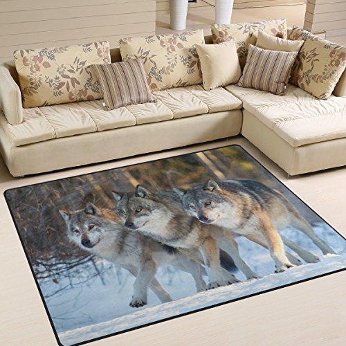 ZZKKO Animal Bereich Teppich Teppich, DREI Wölfe Boden Teppich Matte für Schlafzimmer Living Wohnheim Zimmer Küche, Multi, 3'x5'(100x150 cm)