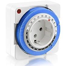 Arendo - Timer meccanico 24h | 24 Ore Plug in Timer| 96 segmenti di commutazione | Regolatore a cursore per indicazione dell
