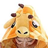 LATH.PIN Jumpsuit Tier Karton Fasching Halloween Kostüm Tier Onsize Sleepsuit Cosplay Fleece-Overall Pyjama Schlafanzug Erwachsene Unisex Lounge (S, Giraffe) -