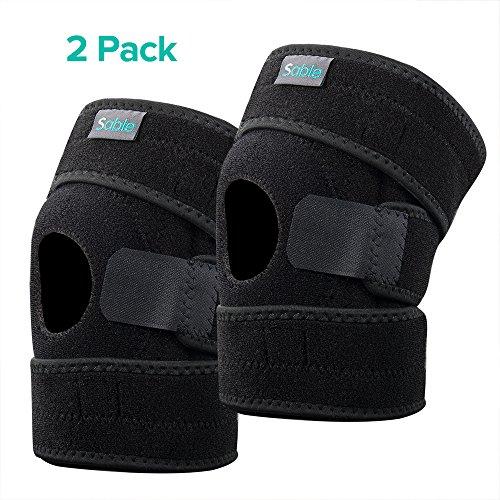 Sable Knieschoner 1 Paar Verstellbare Knieschützer, Unterstützende Bandage Knieorthese für Sport, Schmerzlinderung und Rekonvaleszenz, Offene Patella-Kompressionsbandage mit atmungsaktivem Gewebe