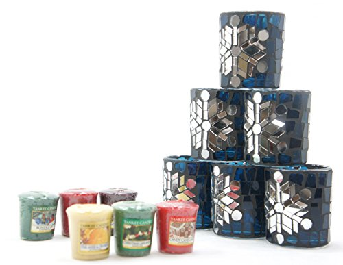 6x Offizielle Kollektion Yankee Candle Festive Season Winter Glimmer Blau und Silber Mosaik Glas Votiv Halter + 6Verschiedene Weihnachten Duft Votivkerzen