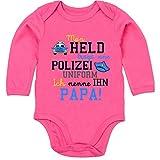 Shirtracer Sprüche Baby - Mein Held trägt eine Polizei Uniform - 3-6 Monate - Fuchsia - BZ30 - Baby Body Langarm