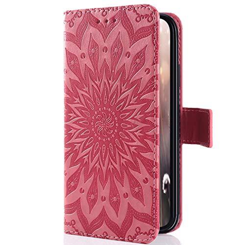 Uposao Kompatibel mit Sony Xperia XZ4 Compact Handyhülle Mandala Blumen 3D Muster Leder Hülle Flip Schutzhülle Handytasche Brieftasche Wallet Bookstyle Case Magnet Stand Kartenfächer,Rosa