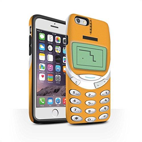 STUFF4 Matte Harten Stoßfest Hülle / Case für Apple iPhone 8 / Schwarzes Nokia 8210 Muster / Vintage Handys Kollektion Oranges Nokia 3310