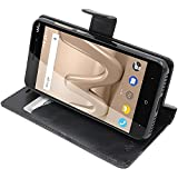 ebestStar - Coque Wiko Lenny 4 Etui PU Cuir Housse Portefeuille Porte-Cartes Support Stand, Noir [Appareil: 145 x 72.2 x 9.1mm, 5.0'']