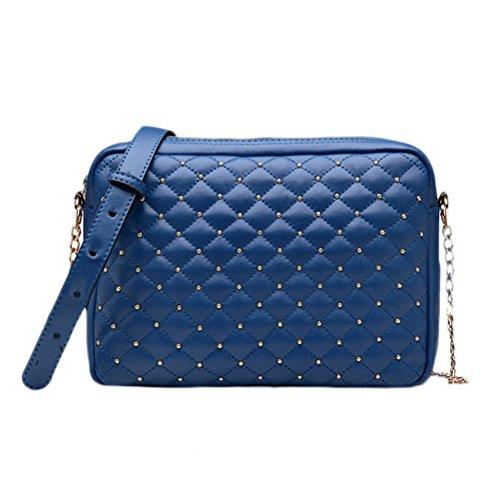 Nasis Fashion Damen Mädchen PU Leder Schultasche Alltagstasche AL4174 (schwarz) blau