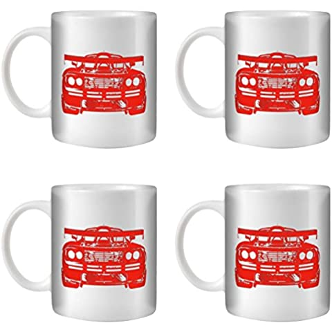 STUFF4 Taza de Café/Té 350ml/4 Pack Rojo/F1 GTR/Cerámica Blanca/ST10
