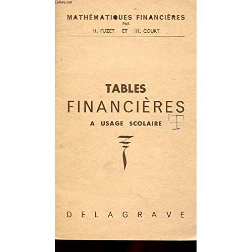 MATHEMATIQUES FINANCIERES. TABLES FINANCIERES A L'USAGE SCOLAIRE