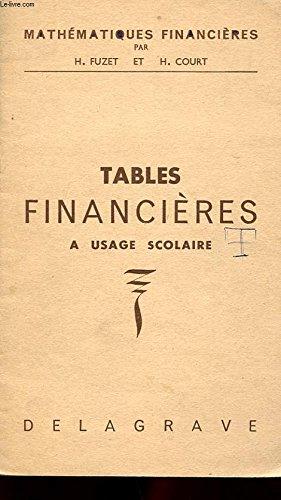 MATHEMATIQUES FINANCIERES. TABLES FINANC...