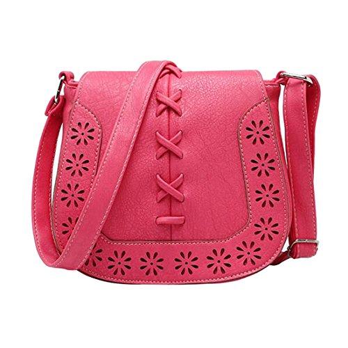 borse di Crossbody - TOOGOO(R)Donne Messenger Bag New Giapponese retro' fresco intagliato scava fuori spalla borse Delle Signore croce corpo borse borsa della donna di Marrone-rosso profondo rosa