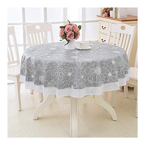 AXROAD MALL PVC runde tischdecke, wasserdicht und öldicht tischdecke für Urlaub Abendessen, Hochzeit, Restaurant, Party (Color : Gray, Size : 220cm)