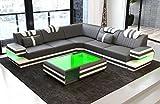 Sofa Dreams Luxus Couch Ragusa L Form mit Lederbezug und LED Beleuchtung