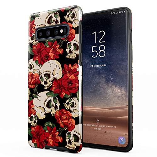 Hüllen für Samsung Galaxy S10 Plus Hülle, Grunge Skeleton Skulls Pattern Roses Wildflower Floral Hipster stoßfest, zweilagig mit Hardcase aus PC + Hülle aus TPU, hybride Case Handyhülle -