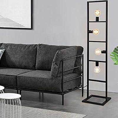 [lux.pro]® Stehleuchte - 142,5 cm - design stylisch schawrz metall home dekoration