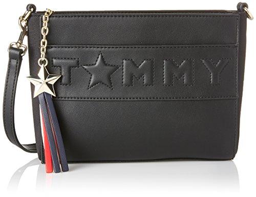 Tommy Hilfiger Damen Logo Story Crossover Umhängetasche, 6.5 x 18 x 22 cm Schwarz (Black)