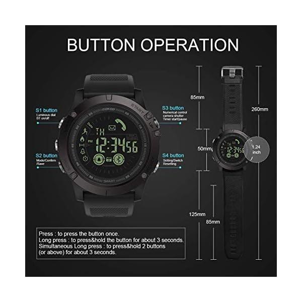 Smartwatch Hombre Deporte Reloj Inteligente Hombre Deporte con Estilo Smartwatch para Deportes y Aire Libre con Contadores de Podómetro Calorías Cronómetro Notificación de Mensajes para Android y iOS 7