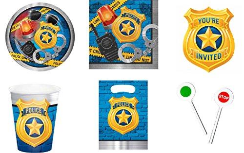 Party Großhandel Polizei Teller Becher Servietten Einladungen Mitgebseltüten Polzeikelle