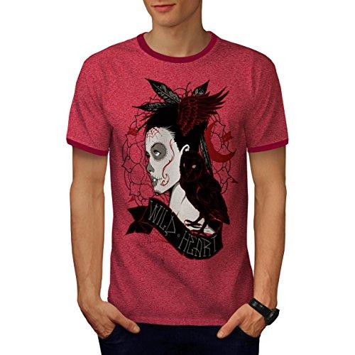 Wild Herz Mädchen Fantasie Böse Eule Herren XXL Ringer T-shirt | Wellcoda (Herz Mädchen Ringer)