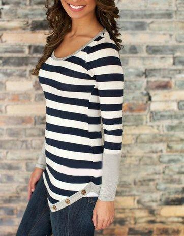 Damen Oberteil T-Shirts Langen Ärmeln O Ausschnitt Nadelstreifen Stitching Unregelmäßig Kurzshirt Schwarz