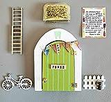 Puerta Ratoncito Perez que se abre de madera (TALLER ARTESANAL) con accesorios * verde *