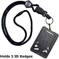 Tres de carga superior soporte de tarjeta de ID Badge con Heavy Duty Lanyard w/Clip giratorio de metal desmontable por Specialist ID, se vende por unidad (un soporte/3tarjetas en el interior)