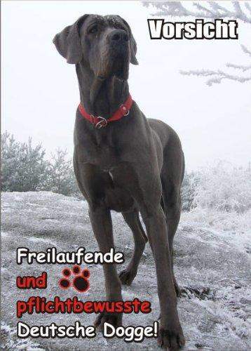 Dogge Hund Tür (INDIGOS UG - Türschild FunSchild - SE436 DIN A4 ACHTUNG Hund Deutsche Dogge - für Käfig, Zwinger, Haustier, Tür, Tier, Aquarium - aus hochwertigem Alu-Dibond beschriftet sehr stabil)