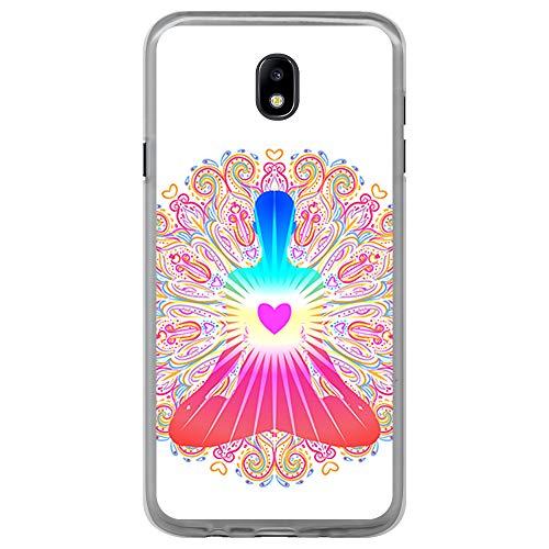 BJJ SHOP Transparent Hülle für [ Samsung Galaxy J5 2017 ], Klar Flexible Silikonhülle, Design: Chakra Kunst, Buddhismus, innerer Frieden