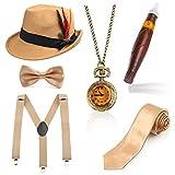 Beelittle 1920er Jahre Mens Gatsby Zubehör Set Trilby Manhattan Fedora Hut, Y-Rücken Hosenträger, Gangster Krawatten, Puff Zigarre, Vintage Taschenuhr (I)