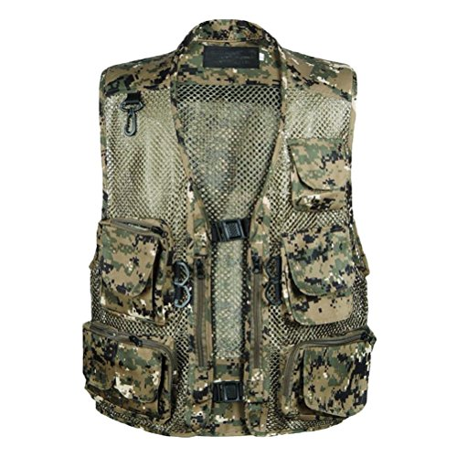Zhuhaitf Casual Men Draussen Multifunction Mesh Thin Hollow Out Multi-pocketed Freizeit Vest Camouflage Green