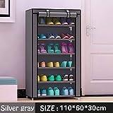 UYEdecor 7 Capas Layer 6-Grid gabinete de Telas no Tejidas Shoe Rack Organizer Almacenamiento de Zapatos extraíble para Muebles de Sala de Estar en el hogar Silver Gray