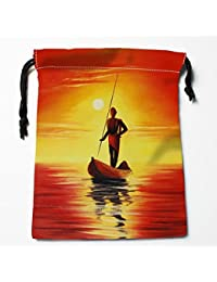 Red : Best Famous Oil Painting 02 Drawstring Bags Custom Storage Printed Receive Bag Compression Type Bags Size...