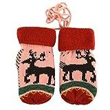 La Haute Kinderhandschuhe für den Winter, gestrickte Thermo-Handschuhe, Weihnachtsgeschenk rosa rose
