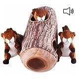 petacc Puzzle Pet Plüsch Quietscher Hide und Seek Hund gefüllt Sound Spielzeug Bissfestes und PET KAUEN Spielzeug mit 1Papierwischer und 3Eichhörnchen, braun