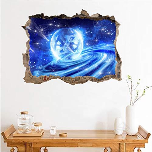 LIGEsayTOY 3D Gebrochene Wand Sternenwand Aufkleber mit Planeten Sternen Himmel Entfernbare Wandbild Prinzessin Paar Stadt asiatisch Chillout gläser fürs böhse treppenhaus Geburtstag maritim