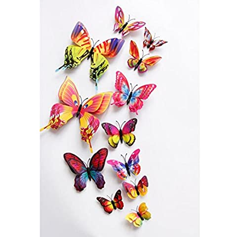 Kingko® 12 PCs A Set 3D Double-Deck Butterfly Wall Sticker