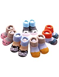 K-youth® 5 Pares/Conjunto Invierno Infantil Unisex De Algodón Grueso Calcetines de bebé
