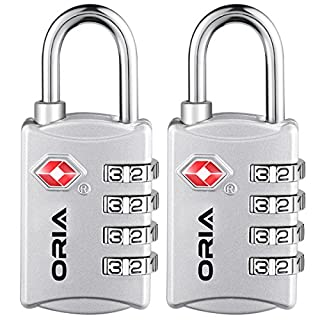 ORIA Combination Padlock, 2 Pack Luggage Locks, 4-Digit TSA Approved lock, Security Padlock, Number Code Locks for Travel Suitcases Luggage Backpacks,Computer bags Gym Lockers Toolbox Case ect.-Silver