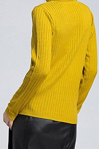 Les Femmes En Chemise À Manches Longues De Slim Pull Col Roulé Base Haut yellow