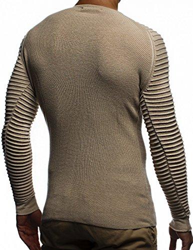 LEIF NELSON Herren Pullover Strickpullover Hoodie Basic Rundhals Crew Neck Sweatshirt langarm Sweater Feinstrick LN20729 Beige