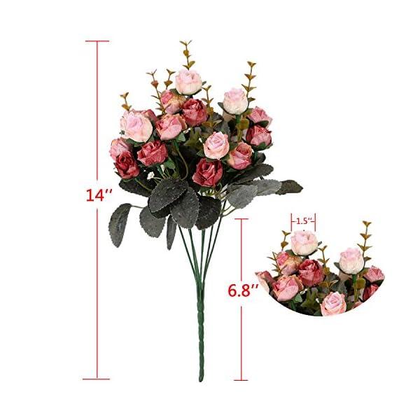 Houda – Ramo de rosas artificiales con tallos y capullos (seda artificial, 2 unidades)
