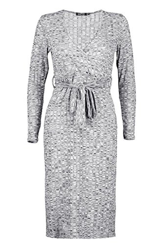 Gris Femme Kat Ribbed Bow Front Wrap Dress Gris