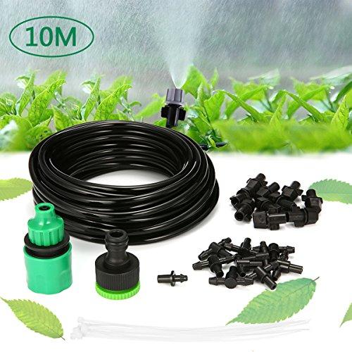 KING DO WAY Conjuntos de Riego, Kit Riego Sistema Automático de Riego DIY para Irrigación Riego Bruma Jardín Invernadero Jardín y Césped (Tubo de 10 m 10 Boquillas)