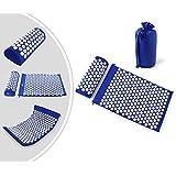 Leogreen - Alfombra y almohada de acupuntura portátil - Color azul - 27 x 17 pulgadas - 1,5 libras - Con una gran bolsa de algodón